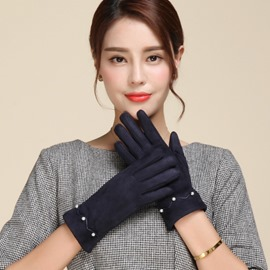 Ericdress Solid Color Suede Warm Women's Gloves