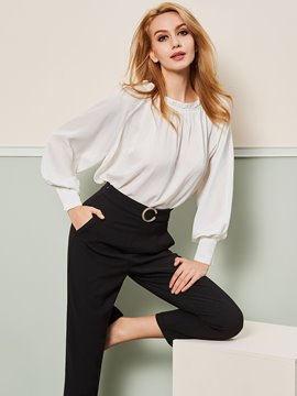 Ericdress Loose Plain Pleated Shirt