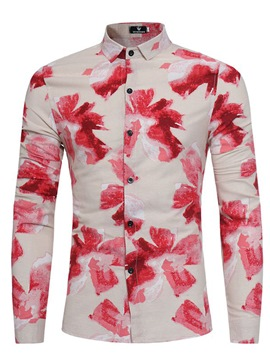 Ericdress Floral Lapel Vogue Slim Men's Shirt