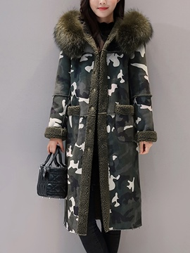 Ericdress Camouflage Mid-Length Hooded Coat