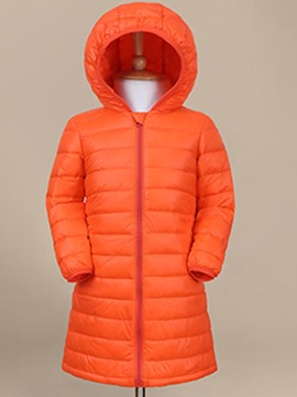 Ericdress Plain Zipper Mid-Length Gril's Down Jacket