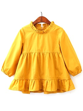 Ericdress Plain Stand Collar Pleated A-Line Girl's Dress