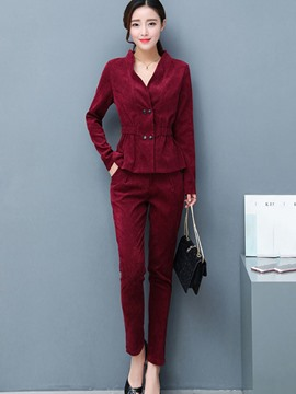 Ericdress Double-Breasted Stand Collar Jacket and Ankle Length Pant Women's Suit