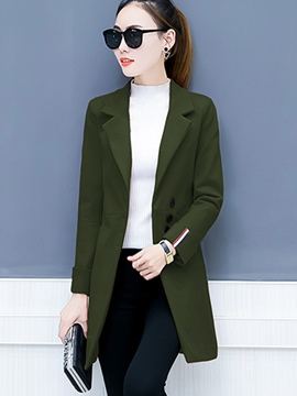 Ericdress Notched Lapel Slim Plain Mid-Length Coat
