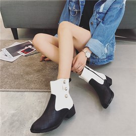 Ericdress Fashion Color Block Women's Ankle Boots with Beads