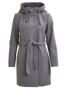Ericdress Plain Zipper Belt Mid-Length Jacket