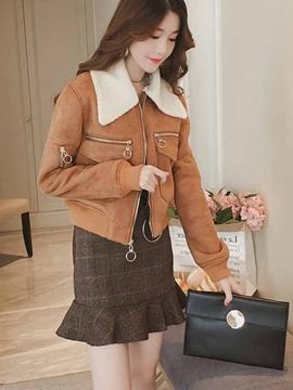 Ericdress Lapel Thick Bomber Jacket