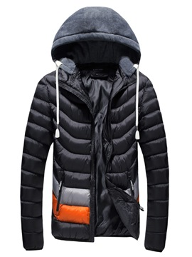Ericdress Color Block Thicken Warm Zip Slim Men's Winter Coat