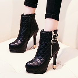 Ericdress Round Toe Buckle Platform High Heel Boots