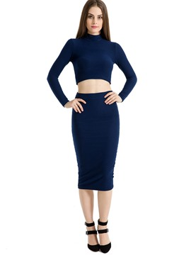 Ericdress Slim High Neck Tops and Mid-Calf Skirt Women's Two Piece Set