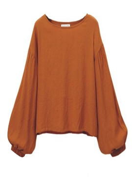 Ericdress Loose Solid Color Lantern Sleeve Blouse