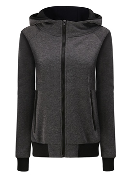 Ericdress Slim Plain Zipper Cardigan Cool Hoodie
