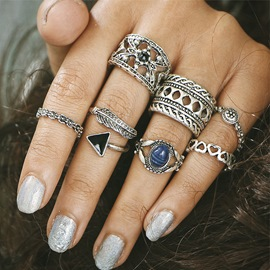 Ericdress Vintage Style 7-Piece Carved Women's Ring