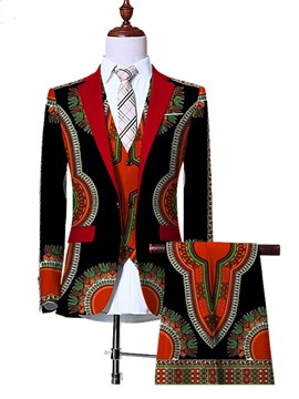 Ericdress Ethnic Style Floral Print Slim Men's Suit