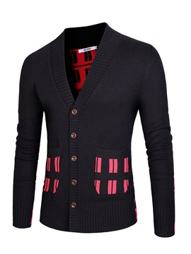 Ericdress Plaid Single-Breasted Slim Men's Cardigan Sweater