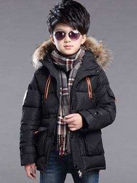 Ericdress Fur Hooded Zipper Mid-Length Boy's Winter Down Jacket