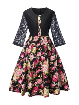 Ericdress Lace Patchwork Floral Print 3/4 Length Sleeves A Line Dress