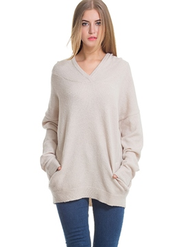 Ericdress Plain V-Neck Mid-Length Knitwear