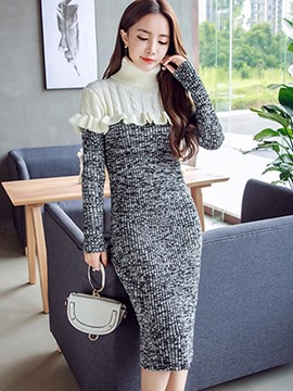 Ericdress High Neck Patchwork Ladylike Sweater Dress