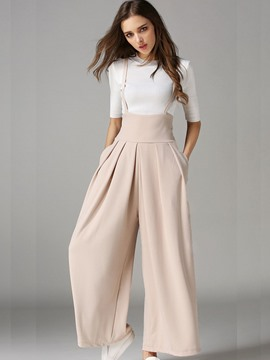 Ericdress High-Waist Ankle Length Wide Leg Women's Suspender Pants