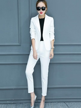 Ericdress One Button Blazer and Ankle Length Pants Women's Suit