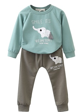 Ericdress Elephant Print Pullover Long Sleeve 2-Pcs Baby Boys & Girls Outfits