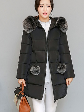 Ericdress Loose Plain Mid-Length Fur Hooded Coat