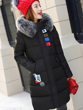 Ericdress Patchwork Mid-Length Fur Collar Coat