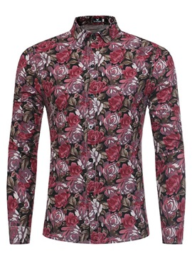 Ericdress Floral Print Lapel Single-Breasted Vogue Slim Men's Shirt