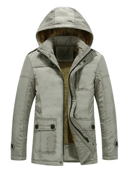 Ericdress Plain Hooded Thicken Slim Men's Winter Coat