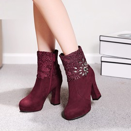 Ericdress Lace Rhinestone Plain High Heel Boots