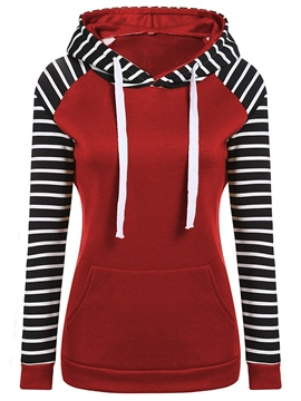 Ericdress Slim Stripe Patchwork Cool Hoodie