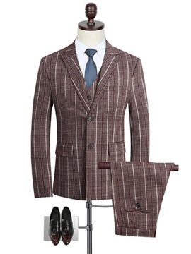 Ericdress Stripe Print Notched Lapel Vogue Slim Men's Casual Suit