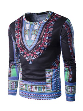 Ericdress African Fashion Dashiki Print Round Neck Slim Men's T-Shirt