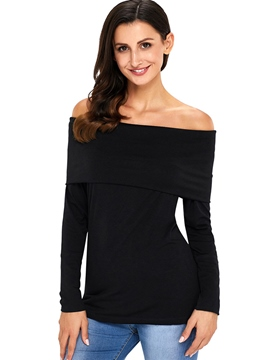 Ericdress Slim Slash Neck Plain Mid-Length T-shirt