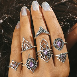 Ericdress Vintage Style Amethyst Hollow Out Ring Set