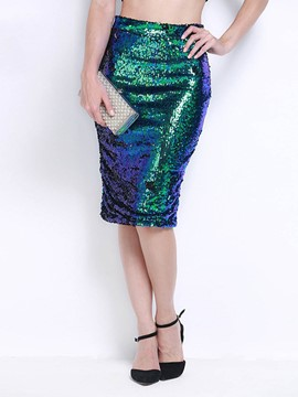 Ericdress High-Waist Knee-Length Sequins Women's Skirt