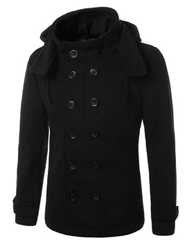Ericdress Plain Stand Collar Casual Slim Men's Woolen Coat