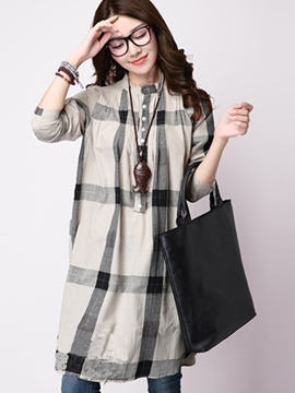 Ericdress Loose Plaid Mid-Length Blouse
