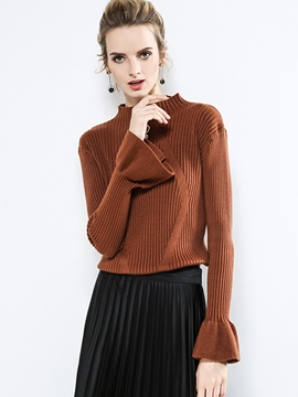 Ericdress Slim Stand Collar Plain Flare Sleeve Knitwear