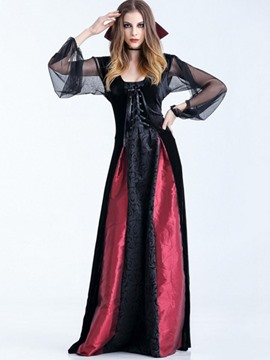 Ericdress Lace-Up Long Sleeve Floor-Length Halloween Costume Dress