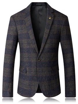 Ericdress Plaid Notched Lapel Single-Breasted Slim Men's Jacket
