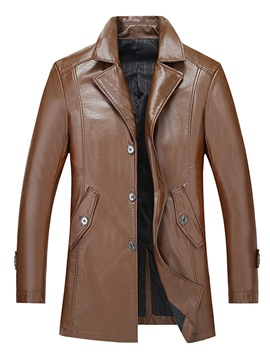 Ericdress Lapel Single-Breasted PU Leather Vogue Slim Men's Jacket