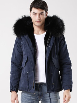 Ericdress Faux Fur Collar Hooded Thicken Slim Men's Winter Coat