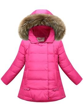 Ericdress Faux Fur Hooded Slim Girl's Down Jacket