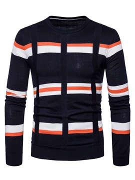 Ericdress Color Block Cotton Round Neck Slim Men's Pullover Sweater