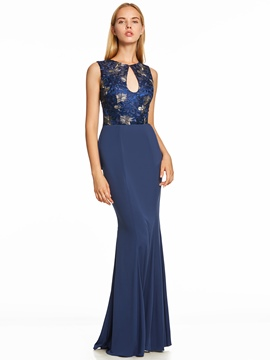 Ericdress Scoop Neck Backless Ruffles Mermaid Evening Dress