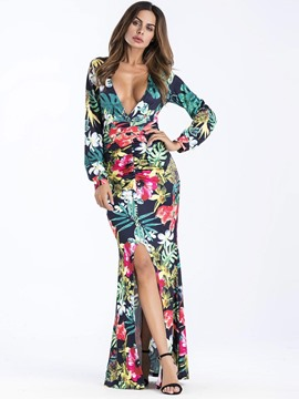 Ericdress V-Neck Mermaid Fall Maxi Dress