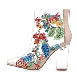 Ericdress Unique Floral Embroidery Clear Chunky Heel Boots