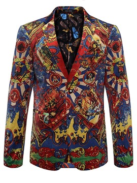 Ericdress Floral Print Notched Lapel Vogue Slim Men's Jacket